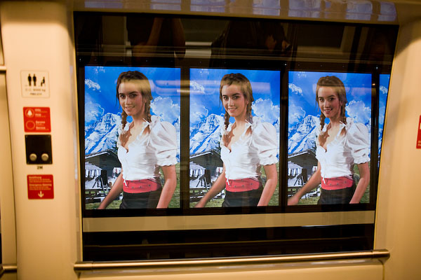 The swiss girl in the airport train